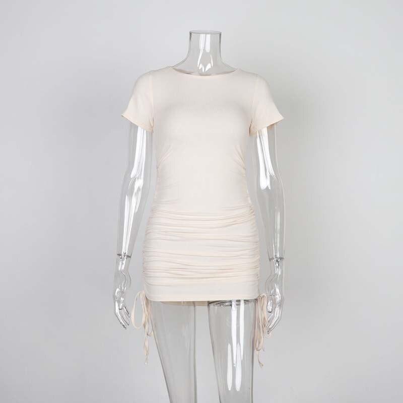Ladies ribbed drawstring dress bodycon round neck short-sleeve sexy T-shirt dresses WL88 12