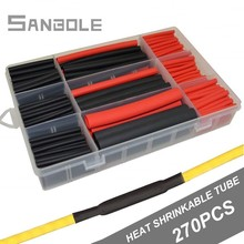 270pcs Cable Sleeve Red/Black Boxed Heat Shrinkage Pipe 3-fold Shrink Tube Group 3:1 Double Wall Bring Rubber
