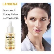 Сыворотка для лица LANBENA 24k Gold быстро проникает в кожу и активирует клетки, восстанавливает кожу, предотвращая уменьшение морщин тонкой линии...