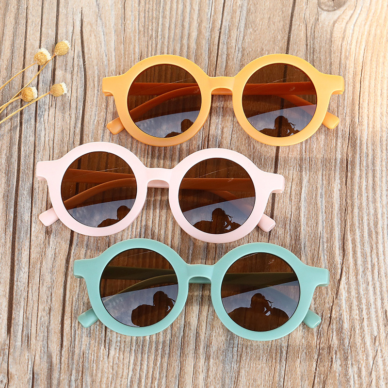 Cartoon Children's Round Sunglasses Retro Solid Color Outdoor Glasses Ultraviolet-proof Convenience Glasses Eyeglass For Kids