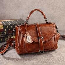 Handbags For Women 2020 High Quality Designer Bag Oil Wax Leather Shoulder Bags Ladies Vintage Boston Bag Messenger Bag