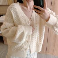 Twist Cable Short Sweater Coat Flowers Knitted Cardigan White Loose Sweater Spring 2019 Femme Korean Sweater