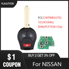 YLKGTTER 3 Button Remote Car key For NISSAN Qashqai Sunny Sylphy Tiida X-Trail CWTWB1U751 with 315Mhz ID46 Chip Transponder(China)
