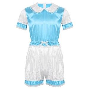 Image 5 - Hot Sexy Men Crossdressing Sissy Dress Silky Satin Short Puff Sleeves Lace Trim Romper Bodysuit Adult Baby Cross Dresser Costume