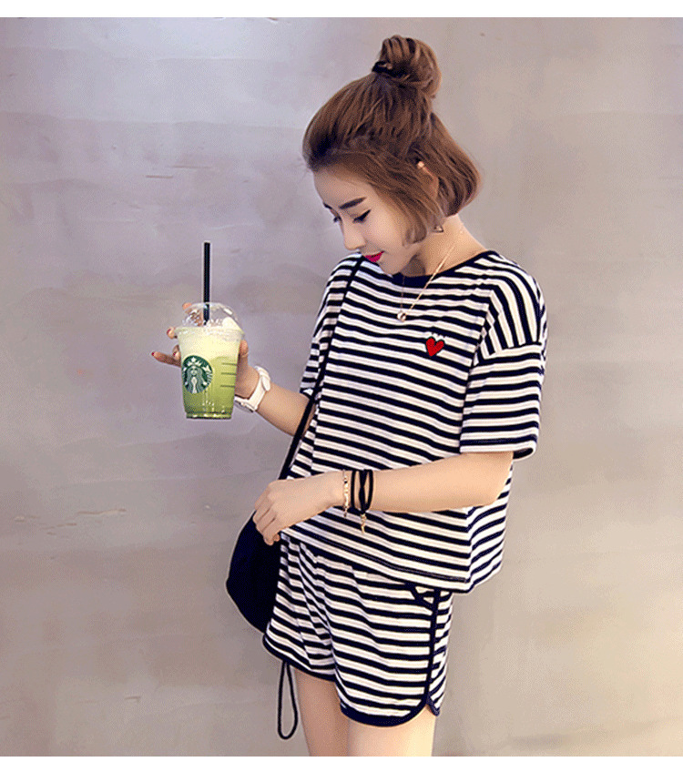 Summer New Style Heart Stripes Fashion Tracksuit Women's Yarn Dyed Stripes Pajamas Two-Piece Set-Outer Wear