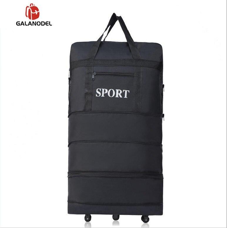 חדש עמיד למים תרמיל נייד נסיעות מזוודה אוויר תיק יוניסקס להרחבה מתקפל מזוודות שקיות עם גלגל הלילה שקיות הלילה