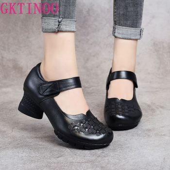GKTINOO Spring Autumn Women High Heel Shoes Slip On Pumps Ladies Retro Genuine Leather Round Toe Women Thick Heel Shoes