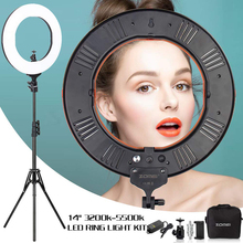 ZOMEI 14 Dimmable LED Studio Ring Light with Tripod Photographic Lighting Lamp For Makeup Selfie Youtube Video Live