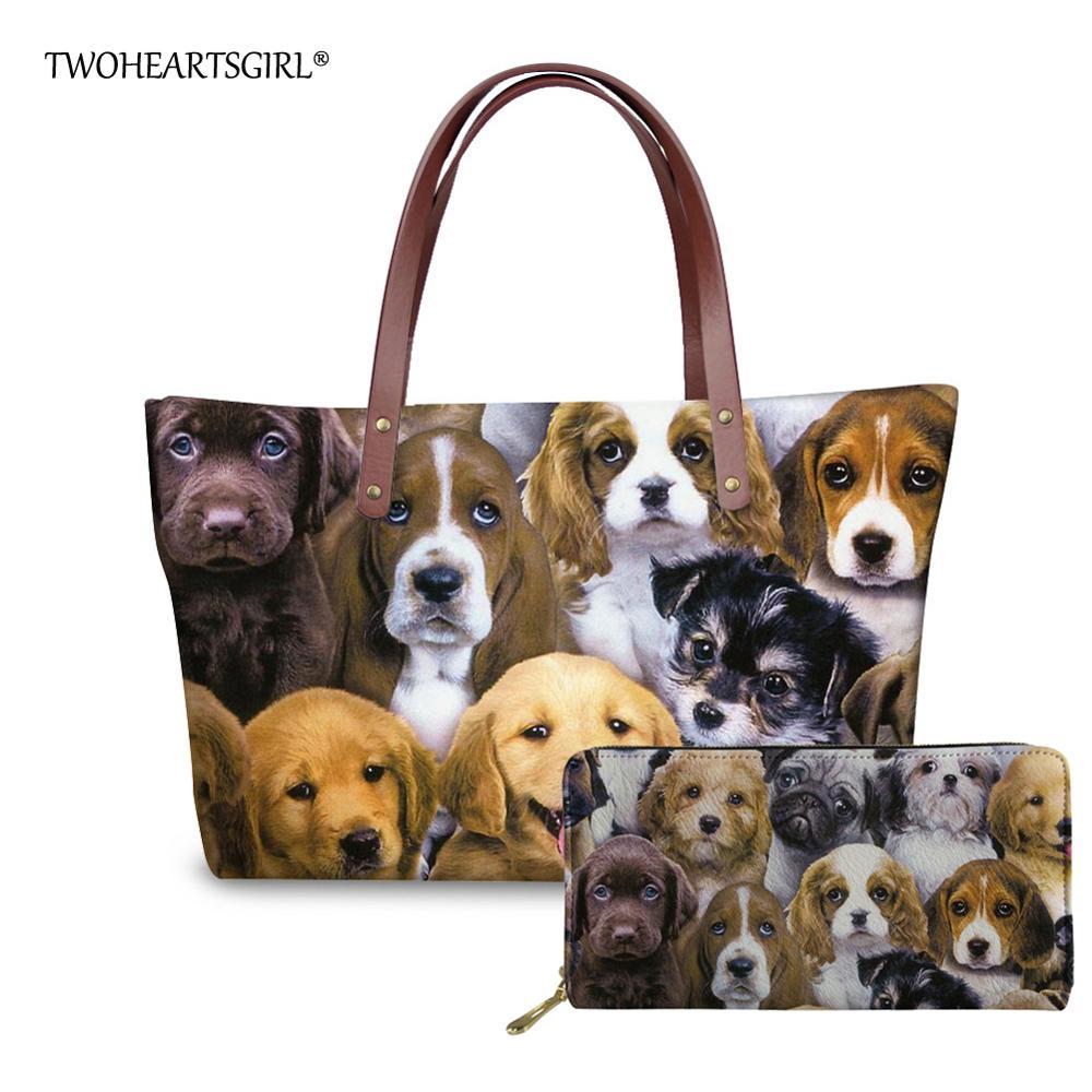 Sacs de femmes d'impression de chien mignon de chiot de deuxcœur sgirl sac fourre-tout de néoprène sac à bandoulière pour des filles d'université sacs à main de grande capacité de dame