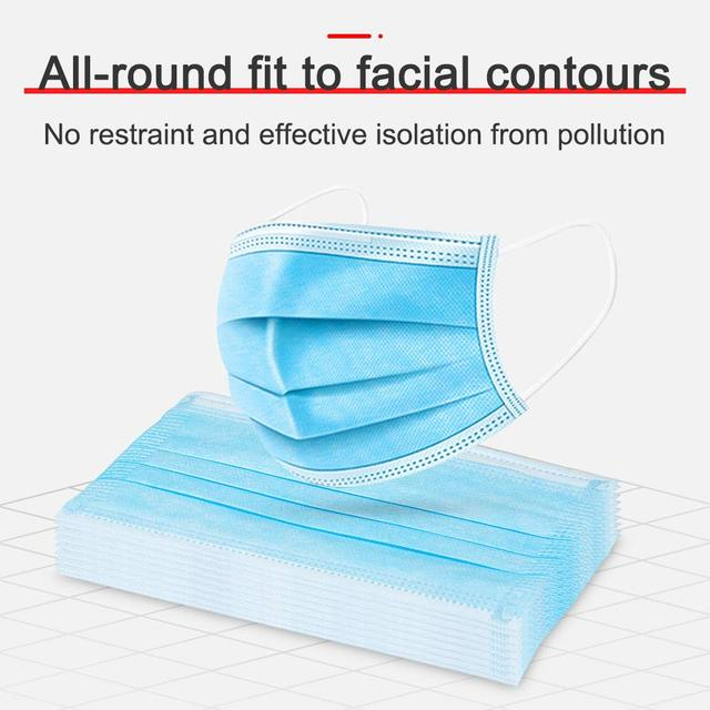 100 Pcs Anti-pollution 3-layer Mask Disposable Mask Anti-bacterial Flu Filter Elastic Fast Delivery Face Protection Safety Mask 3