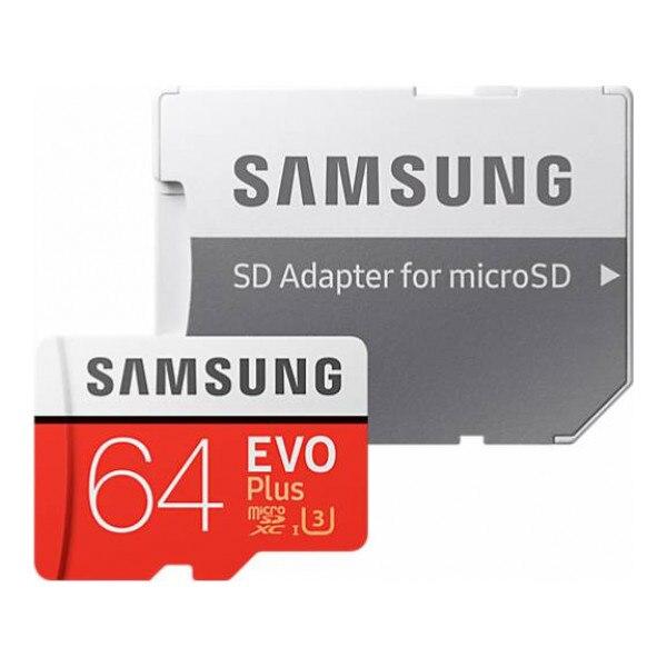 Карта памяти Samsung 64Gb EVO Plus v2 MicroSDXC Class 10 UHS-I U3, SD adapter MB-MC64GA/RU