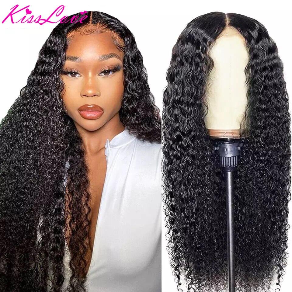 Кудрявые Парики KissLove 13x4 из человеческих волос на сетке спереди для чернокожих женщин, бразильские волосы с глубокой частью 6x 6/5x5, парик на се...