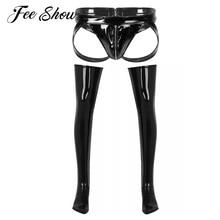 Underwear Costumes Sissy Wet-Look Zipper-Crotch Nightclub Mens Patent Briefs with Thigh