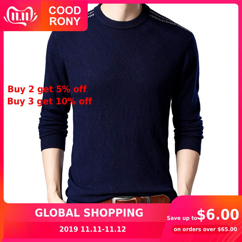 COODRONY Sweater Men Casual O-Neck Pull Homme Merino Wool Sweaters 2019 New Autumn Winter Thick Warm Cashmere Pullover Men 93010