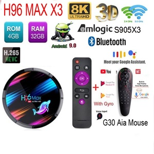 H96 Max X3 S905X3 tv box android 9 8K Amlogic 128G/64G/32G with 2.4G&5G Wifi 1000M lan bluetooth usb3.0 optional g30 air mouse