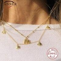 EINDOSER Echt 925 Sterling Silber Halskette für Frauen Gold Farbe Kleine Nette Elefanten Lavicle Halskette Kette Feine Schmuck collares