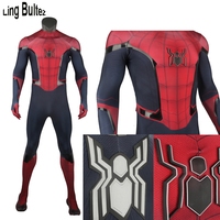 Ling Bultez High Quality Spandex Rubber Printing FFH Spiderman Cosplay Costume With Relif Logo FFH Spiderman Suit For Men