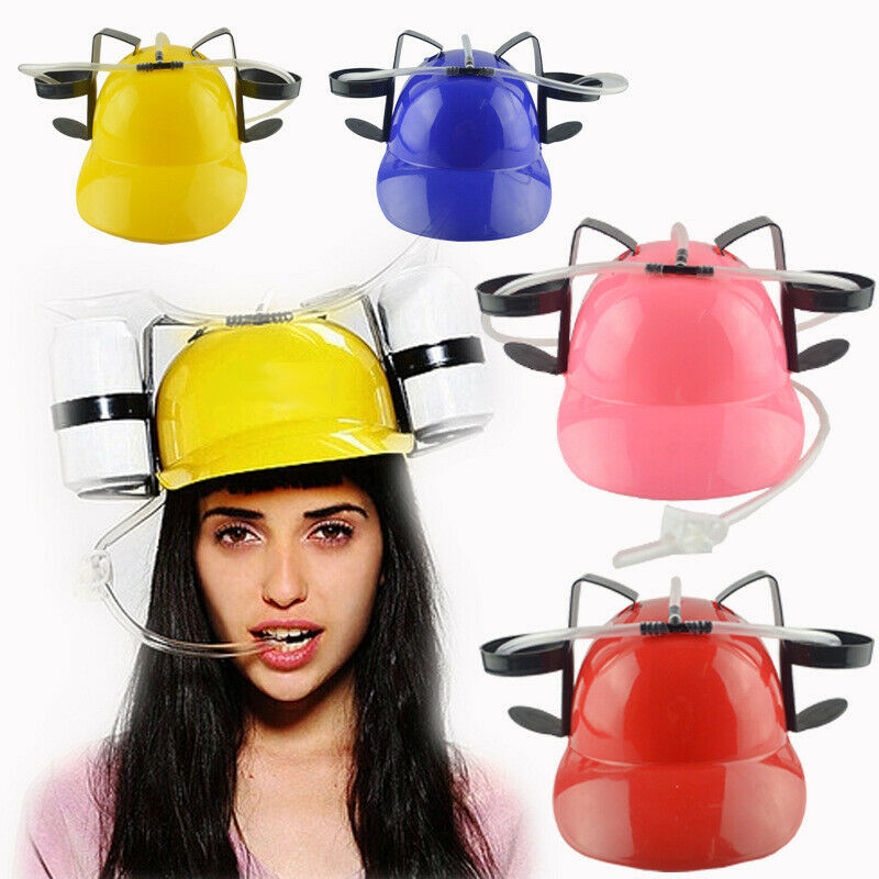 New Women Men Beer Soda Drinks Guzzler Helmet Drinking Hat Caps Black Party Game Hat For Adult