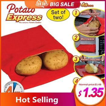 Czerwona zmywalna torba do gotowania zmywalna torba do pieczenia kuchenka mikrofalowa gotowanie ziemniak szybkie szybkie pieczone ziemniaki kieszeń łatwy do gotowania przyrząd kuchenny tanie i dobre opinie