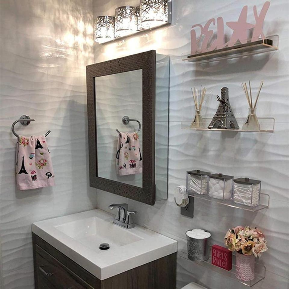 1PCS Acrylic Wall Display Shelf Fixings Home Bathrooms Bedrooms Retail Shop New