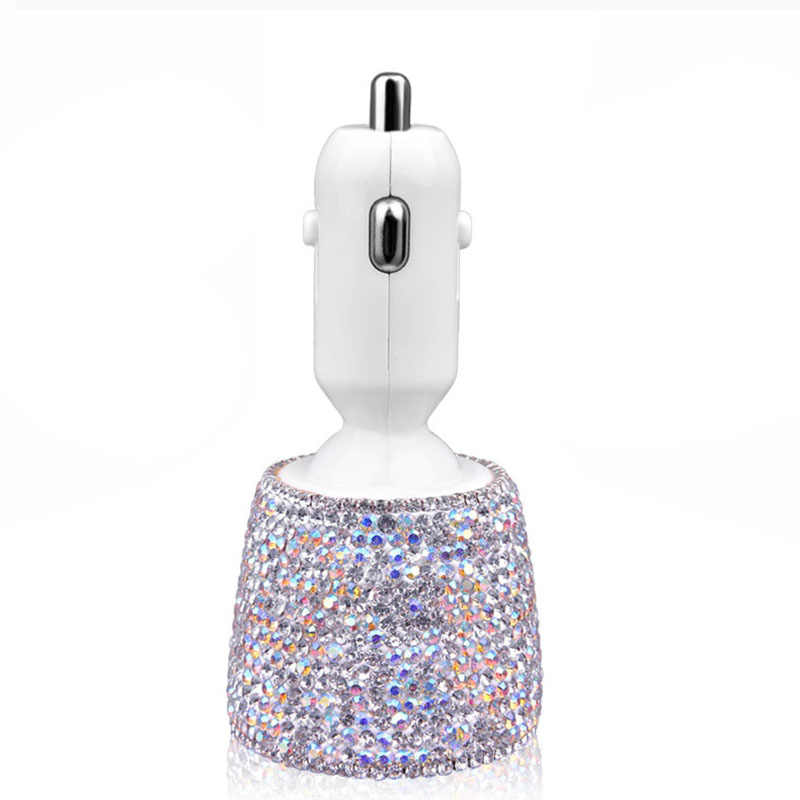 Crystal Rhinestones Dual USB Quick Charge Car Charger For Mobile Phone Ipad Rotate Fast Charging Adapter Silver