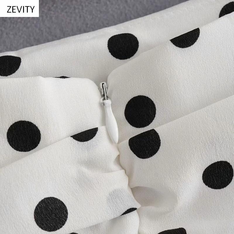Polka Dot Print Pleated Asymmetrical Skirt 13