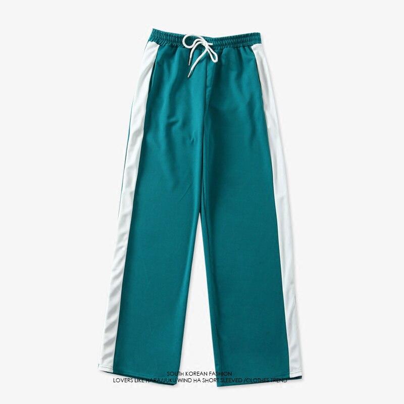 Kpop Bangtan garçons V même coton pantalon bleu noir lâche Ulzzang Style coréen survêtement pantalons de sport