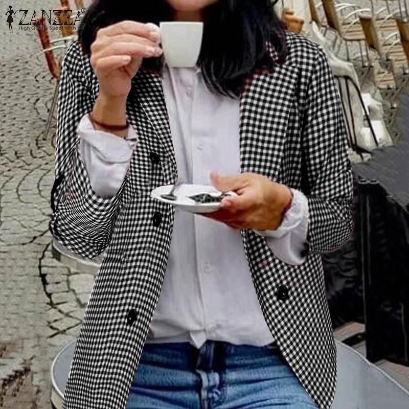 ZANZEA 2019 Fashion Office Lady Blazers Women Plaid Check Blazer Casual Pockets Blazer Feminino Lapel Buttons Chaqueta Mujer 5XL