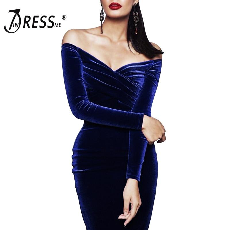 INDRESSME 2019 Long Sleeve Bodycon Women Off The Shoulder Velvet Dress Fashion Knee Length Summer Women Party Dress Vestidos