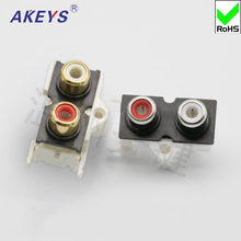 5 pcs AV two-hole same core socket 3-foot RCA seat PCB welded audio and video socket Lotus seat AV2-8 .4 -8 цены