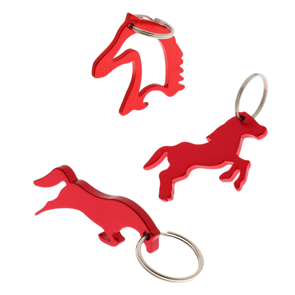 3 Style Portable Horse Beer Bottle Opener Key Ring Keychain Bag Pendent - Red