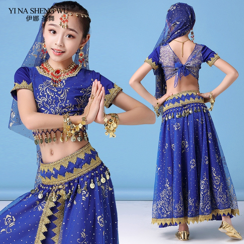 New Style Girl <font><b>Kids</b></font> Belly Dance <font><b>Indian</b></font> Costume Set Oriental Dance <font><b>Sari</b></font> Bollywood Children Chiffon Performance Stage Outfit image