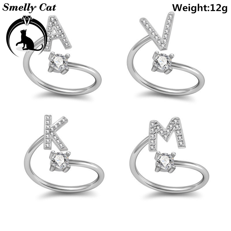 Smelly Cat Women S Ring 26 Letters English Girlfriend Valentine S