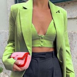 Женский модный сексуальный зеленый Блейзер, Женский Повседневный высококачественный костюм Джокера, женские свободные удобные блейзеры, н...