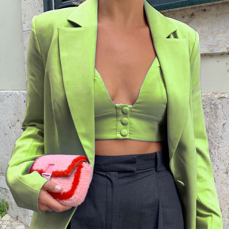 Women Fashion Sexy Green Blazer Ladies Casual High Quality Joker Suit Coats Female Loose Comfort Blazers Spring New