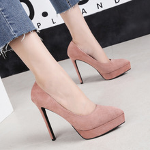 Spring and autumn women's high-heeled shoes pointed suede party women's thin