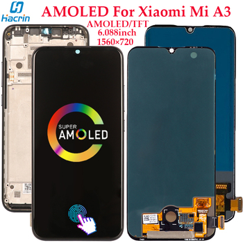 Display For Xiaomi Mi A3 LCD Display Touch Screen Digitizer Assembly Replacement For Xiaomi Mi A3 AMOLED Screen With Fingerprint amoled display for xiaomi mi mix 3 lcd display touch screen digitizer assembly tested display for mi mix 3 screen replacement