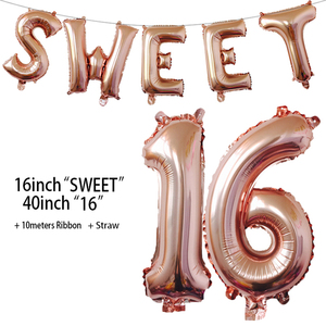 Image 3 - Sweet 16 Party Decorations Supplies Sixteen Birthday Decorations 16 Years Birthday Number Foil Balloons