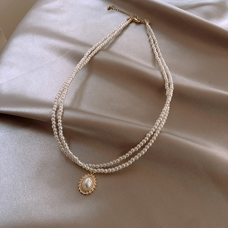 Korean new design fashion jewelry double elegant and elegant white pearl water drop pendant female prom party clavicle necklace