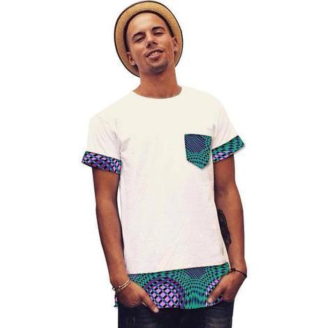 Men's African Shirt Fashion Dashiki Print Wax/White Patchwork Man Tops O-neck Short Sleeve Shirts Plus Size