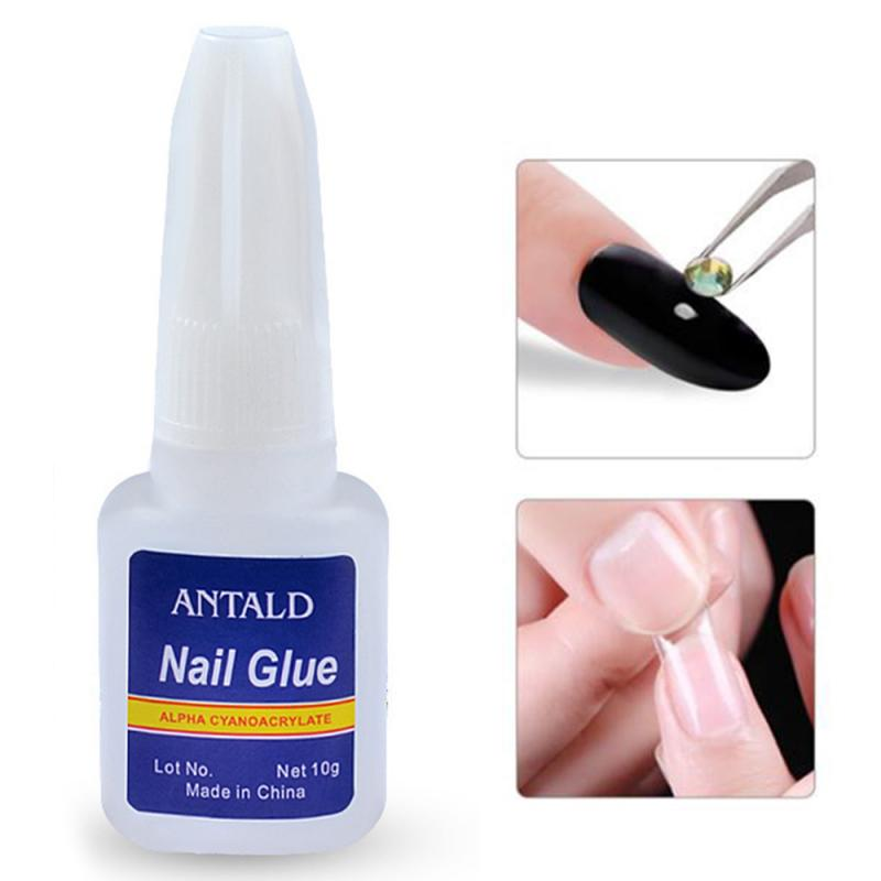 10g Fast Drying Nail Glue With Brush False Nails Glitter Rhinestones 3D Decoration Sticking For Nail Art UV Polish Gel TSLM1