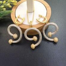 Joyería Lanyika forma simple de las letras Micro incrustaciones collar con pendientes para Banquete de lujo mejor regalo