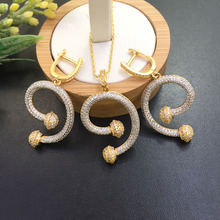 Lanyika Jewelry Simpleness Shape Of The Letters Micro inlay Necklace with Earrings for Banquet Luxury Best Gift