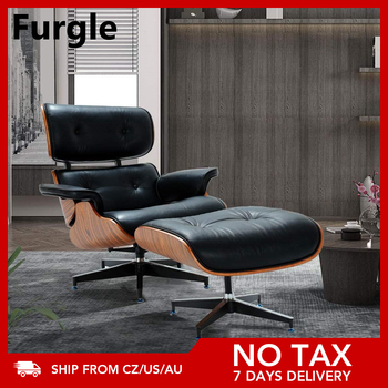 Furgle Chaise Chair Lounge Chair With Ottoman Black Palisander Wood Chair with Black Real Leather For Living Room Furniture Set 1