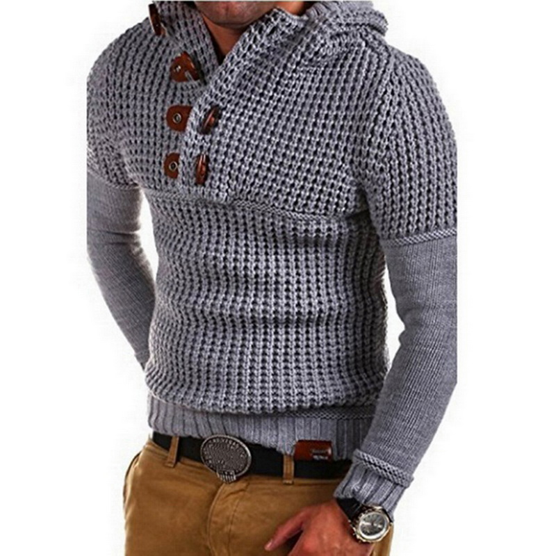 DIHOPE Men's Autumn  Sweater Double-breasted Collar Long-sleeved Solid Color Slim Bottoming Casual Sweater Male 2019 New