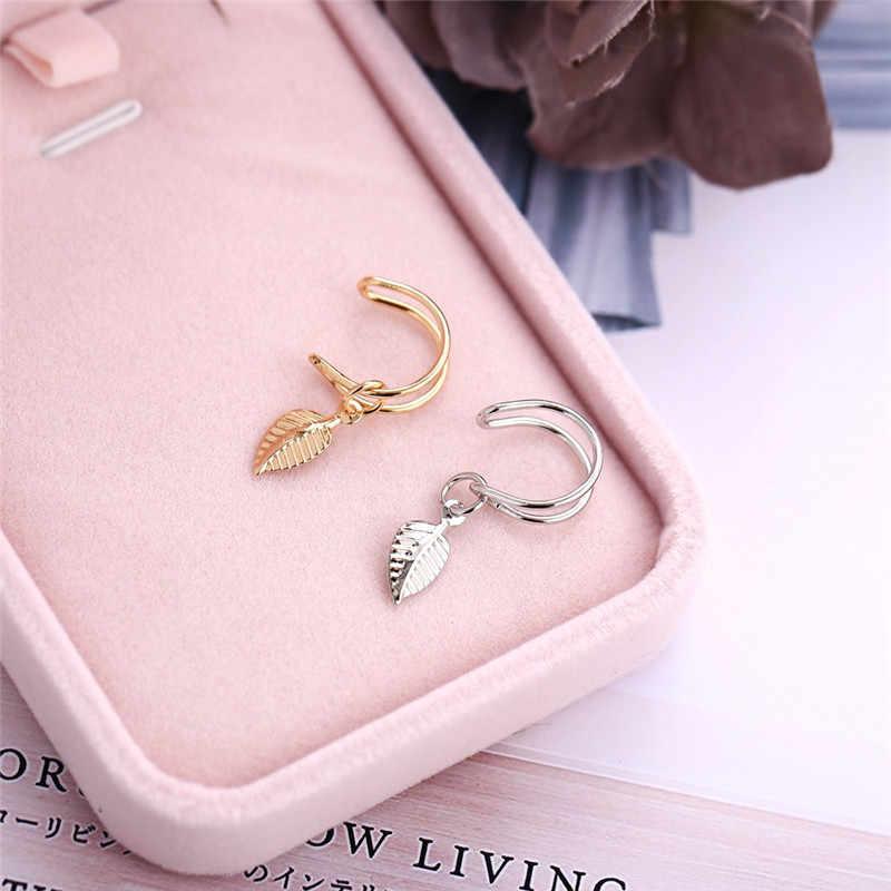 Woozu 2019 Hot Sale C Shape Clip Ear Cuffs Gold Leaf Ear Clip Earrings For Women No Piercing Fake Cartilage Earring