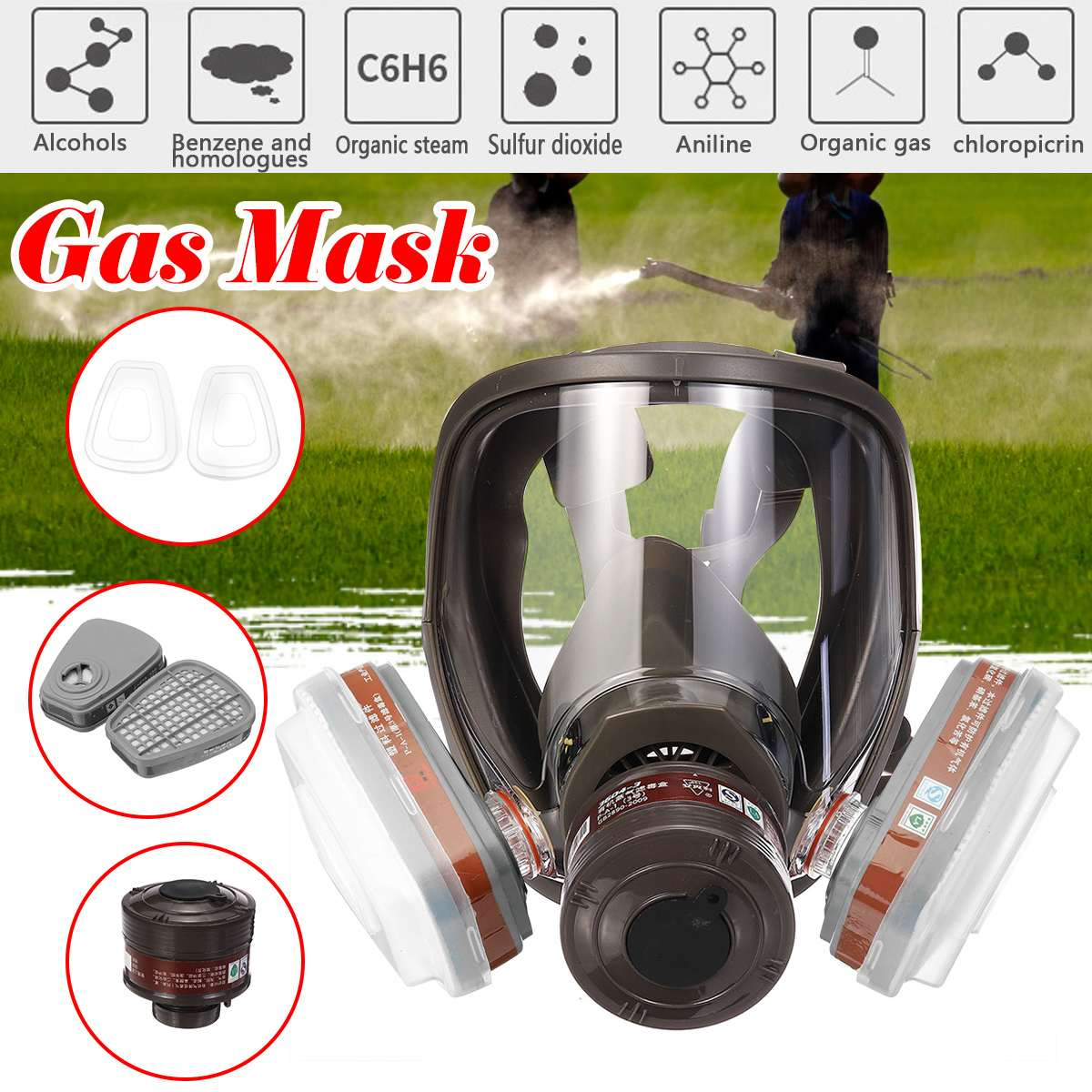 4 Style 6800 Face Gas Mask Adjustable Gas Mask Full Face Facepiece Painting Spraying Respirator For Gas Mask Respirator Filter