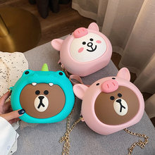 Women New Mobile Phone Bag Cartoon Messenger Single Shoulder Lady Cute Cartoon Silicone Crossbody Bag For Iphone 8 Plus Case(China)