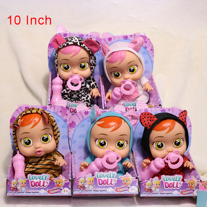 Tearing Baby Dolls With Pacifier Feeder Cute Toys For Girls Drinking Water Silicone Body Electric Doll 10inch Bebe Toys For Gift