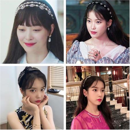 black Vintage hairband for women DEL LUNA Hotel decoration Korean Fashion Hairpin IU Lee Ji Eun tv drama